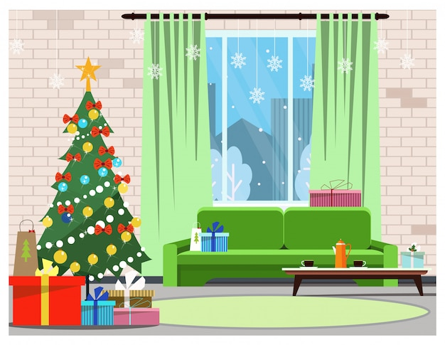 Apartment interior with decorated fir-tree, window and sofa