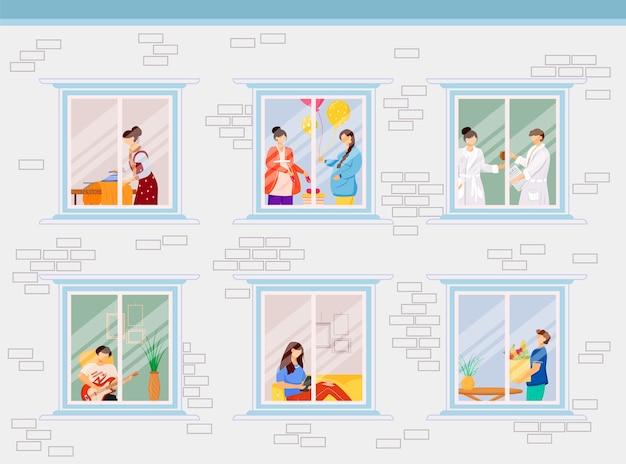 Квартира соседи плоская цветная иллюстрация. окна в жилой дом. хобби и образ жизни. гостиная на диване. домашняя деятельность 2d-персонажей мультфильмов внутри с интерьером на фоне