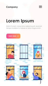 Apartment open windows and neighbors. leisure, routine, wall web template