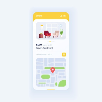 Apartment parameters smartphone interface vector template. mobile app page white design layout. renting accomodation cost screen. flat ui for application. housing for buying. phone display