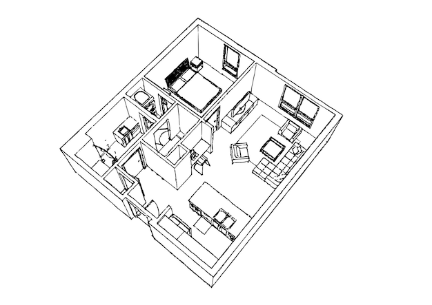 アパートスタイリッシュなインテリアデザインskech。