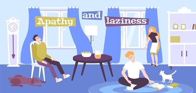 Плоская иллюстрация эмоций апатии и лени с депрессивными людьми, остающимися дома