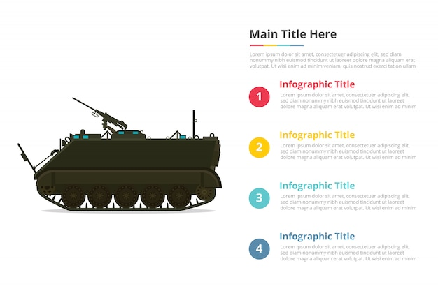 Apc personel army carrier infographics template with four points