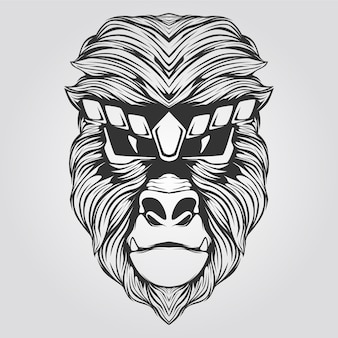 Ape art line art in black and white