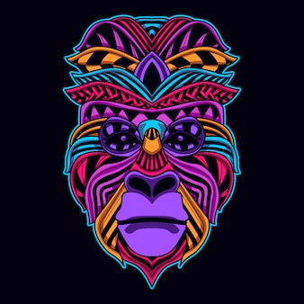 Ape face in glowing neon color