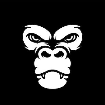 The ape gorilla chimpanzee cartoon mascot silhouette logo design