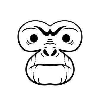 원숭이 머리 로고 문신 디자인 스텐실 벡터 일러스트 레이 션 프리미엄 벡터