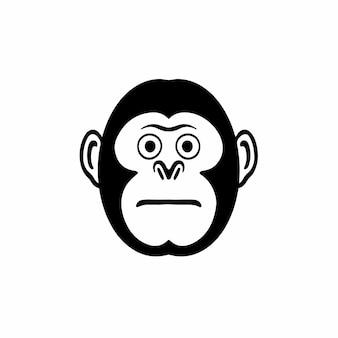 원숭이 머리 로고 문신 디자인 스텐실 벡터 일러스트 레이 션