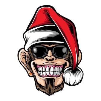산타 모자 벡터를 입고 원숭이