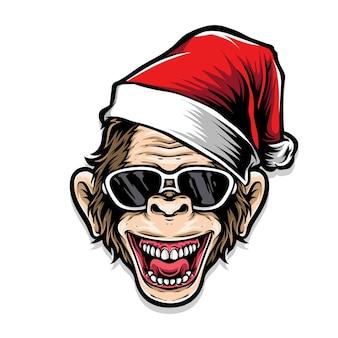 산타 모자를 쓰고 원숭이
