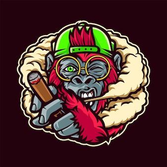 연기 만화 일러스트와 함께 원숭이