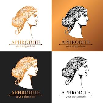 アフロディーテまたは金星。女性の顔のロゴ。ビューティーサロンやヨガサロンのエンブレム。調和と美しさのスタイル。
