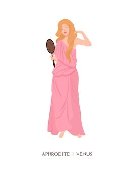 Aphrodite or venus - goddess of love and beauty, deity or mythological maiden holding mirror.