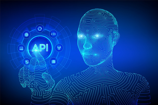 Api. application programming interface concept on virtual screen. wireframed cyborg hand touching digital interface.