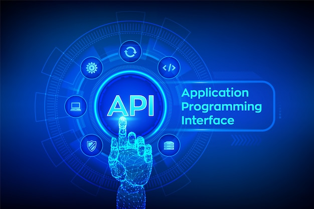 Api. application programming interface. robotic hand touching digital interface.