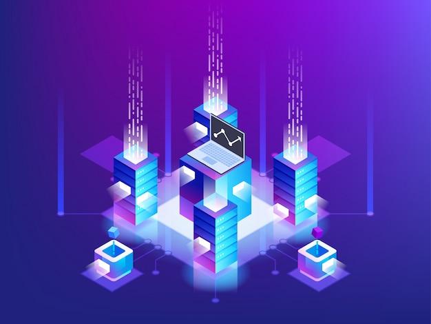 サーバールームラック、ブロックチェーンテクノロジー、トークンapiアクセス、データセンター、クラウドストレージコンセプト