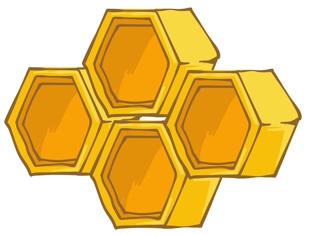 養蜂場および農業産業およびビジネス、住宅生産。ミツバチ、有機製品のための孤立した六角形のハニカム。 3dまたは側面図で示されている蜂の巣のセル。フラットスタイルイラストのベクトル