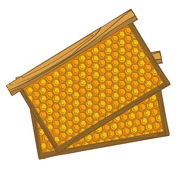 甘い有機蜂蜜製品の養蜂場および農業生産。花粉を保存するミツバチのための隔離された蜂の巣フレーム。六角形のセルとコームを備えた木造建築。フラットスタイルイラストのベクトル