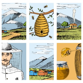 Apiary farm  cards hand drawn vintage honey making farmer beekeeper illustration nature product by bee