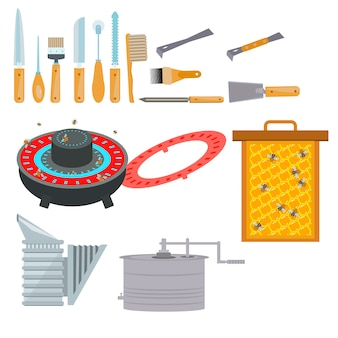 Apiary flat illustration vector symbols.
