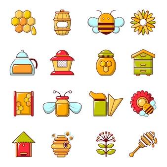 Apiary honey icons set