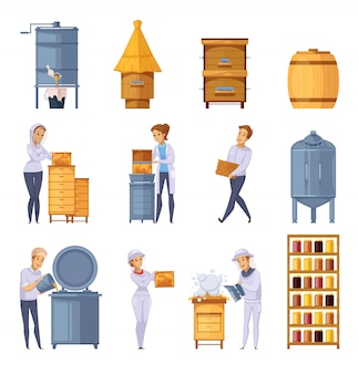 Apiary honey production cartoon set