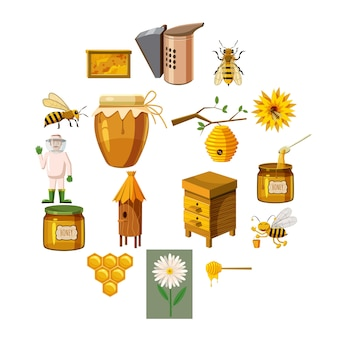 Apiary icons set, cartoon style