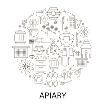 Apiary linear circle icon. emblem honey store outline. production of bee nectar. clothing and accessories for the beekeeper. beehive and honeycomb. vector illustration.