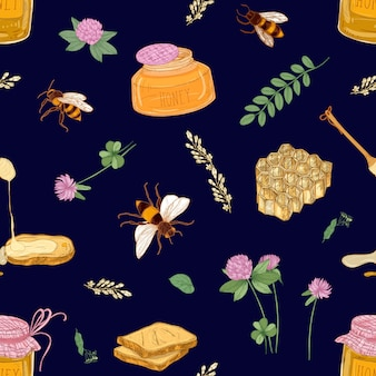 Apiculture or beekeeping seamless pattern on dark background