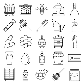 Apiculture icon set. outline set of apiculture vector icons