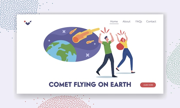 Apocalypse disaster landing page template. frightened characters run away from meteorite burning balls fall on earth. natural phenomenon in space, asteroids falling. cartoon people vector illustration