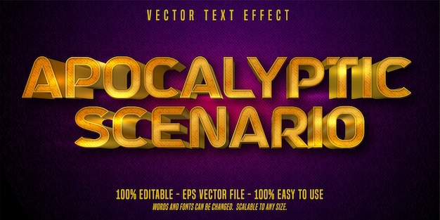 Текст апокалиптического сценария, эффект редактируемого текста в блестящем золотом стиле