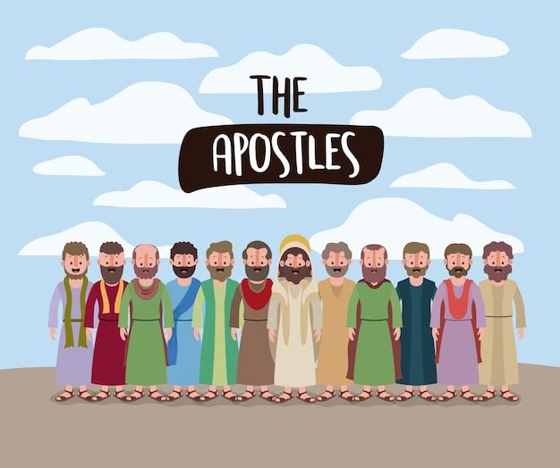 The apostles and jesus in daily scene in desert