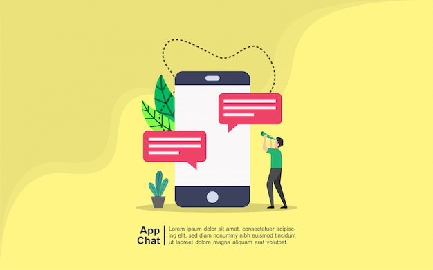 App chat concept with people character