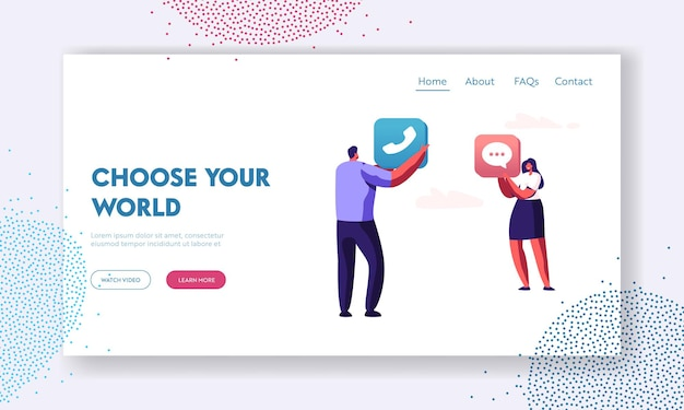 App content development, male and female characters holding mobile application icons of phone and message in hands, technology website landing page, web page. cartoon flat vector illustration
