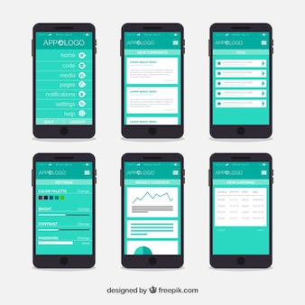 App dashboard template with flat design