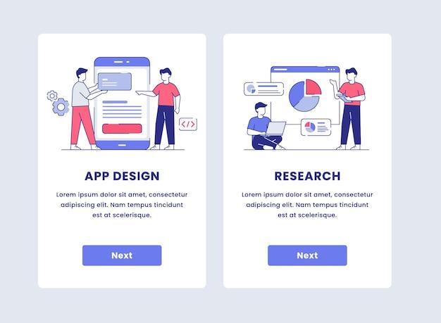 모바일 앱 일러스트레이션을위한 온 보딩을위한 앱 디자인 컨셉