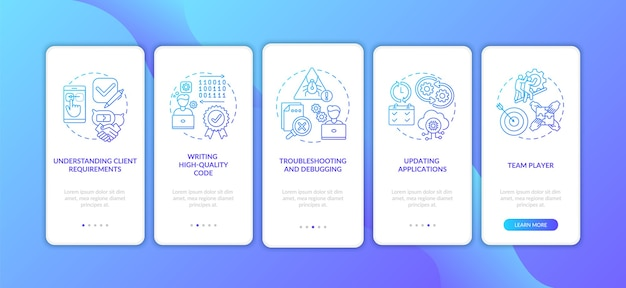 App developer skills on boarding mobile app page screen with concepts.