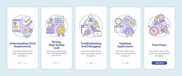 App developer skills onboarding mobile app page screen with concepts