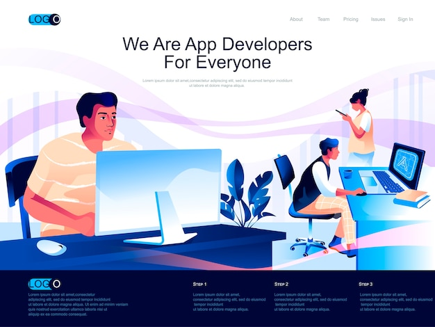 App developers isometric landing page with flat characters situation