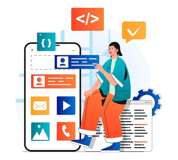 현대적인 평면 디자인의 앱 개발 개념 개발자는 레이아웃에 버튼을 배치합니다.