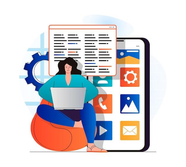 モダンなフラットデザインのアプリ開発コンセプト女性開発者はラップトップで動作します