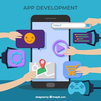 App development concept with flat design