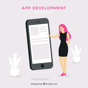 App development concept with flat design