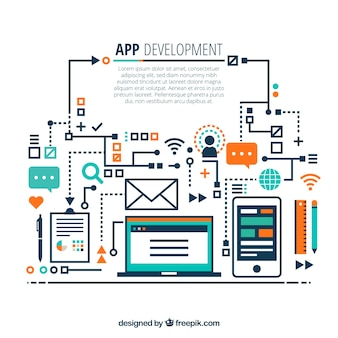 App development concept with hand drawn style