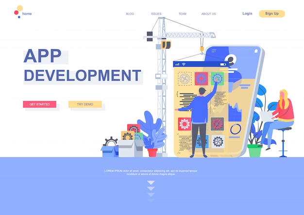 App development flat landing page template. front end and back end development, developer create mobile application situation. web page with people characters. software engineering illustration