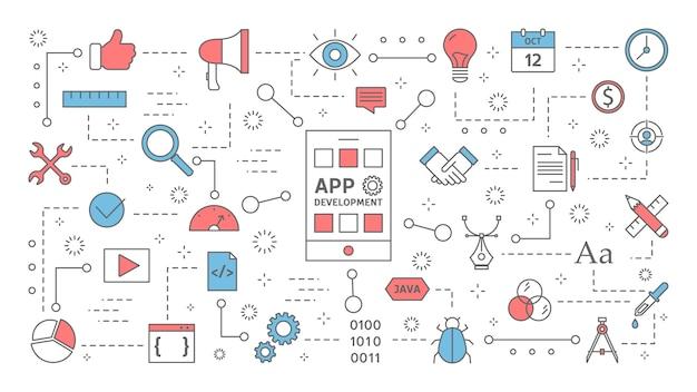携帯電話のコンセプトのためのアプリ開発。スマートフォンのアプリケーションとプログラミング。応答性の高いインターフェース。現代のテクノロジー。カラフルな線アイコンのセットです。図