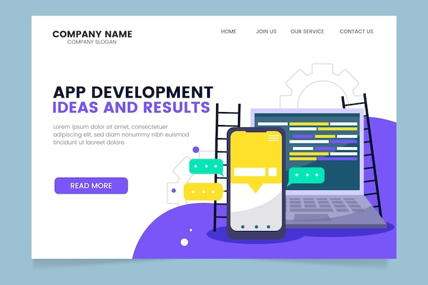 App development ideas and results landing page