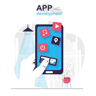 App development isolated cartoon concept creation and optimization of programs and apps