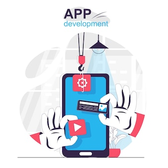 App development isolated cartoon concept designer creates an interface mobile application